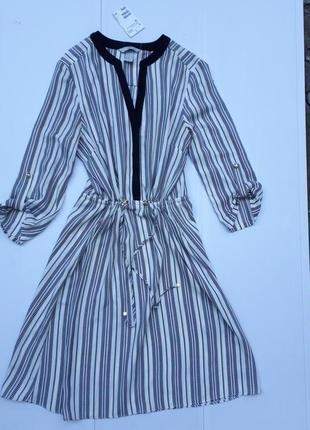 H&m германия женственное легкое платье в полоску р.м-38 новое