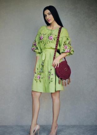 """Эксклюзивное льняное платье с ручной вышивкой """"свежесть розы"""" вышиванка ручной работы"""
