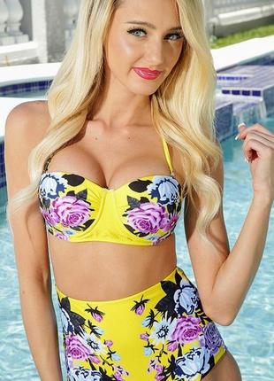 Шикарный желтый раздельный купальник с завышенными плавками в цветах