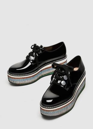 Новые зара криперы туфли ботинки на платформе лаковые
