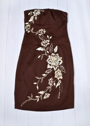 Нарядное платье бюстье, корсет с аппликацией fye landy, размер 10