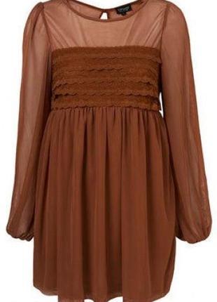 Красивое коричневое платье, м