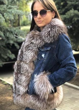 Джинсовая куртка с мехом чернобурки( все размеры в наличии)
