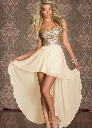 Шикарное нарядное платье с ассиметричным подолом только сегодня за 200 грн.!!!