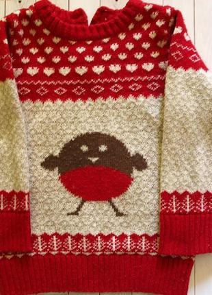 Новогодний свитер со снегирем