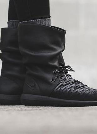 Us7,7,5,8,8,5 кроссовки nike roshe two flyknit hi, кожа+ткань. оригинал сапоги/ботинки