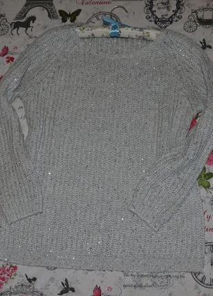 Стильный свитер оверсайз с пайетками atmosphere  12 размер