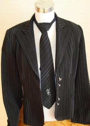 🍁деловой офисный костюм женский двойка ( брюки+ юбка, ), черный в мелкую полоску 🍁🍁