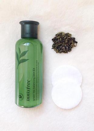 Тонік для комбінованої шкіри обличчя innisfree - green tea balancing skin ex