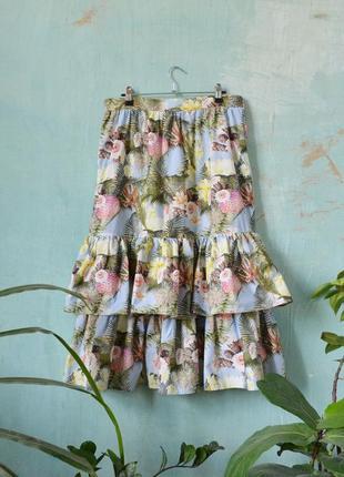 Миди юбка в тропический принт цветы пальмы ананасы с оборками воланами