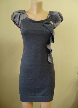 Нарядное серое платье.
