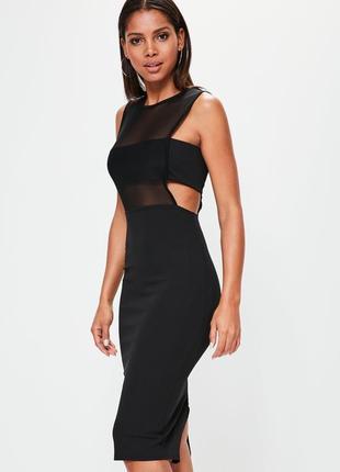 Чёрное платье миди по фигуре, бандажное с вырезами, чехол