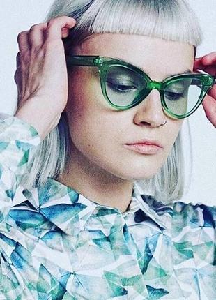 Зеленые полупрозрачные женские очки новинка 2018 лисички кошечки