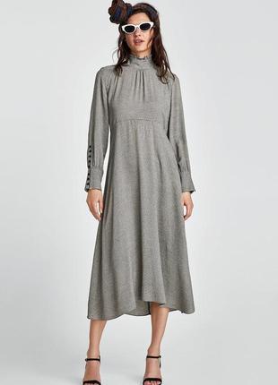 Zara платье в клетку миди, s,m