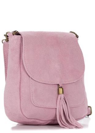 Замшевая розовая сумка lanira италия разные цвета