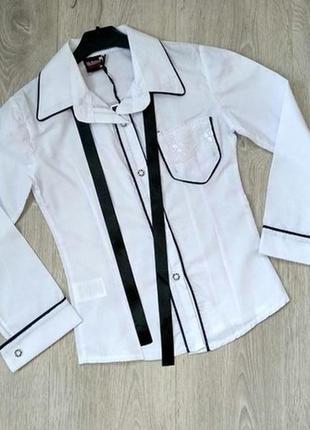 Блузка школьная с атласным галстуком