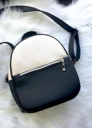 Маленький черный рюкзак- сумка из экокожи