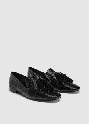 Черные кожаные туфли, лоферы zara! 36 размер
