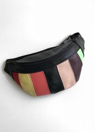 """Новинка!трендовая сумка на пояс """"rainbow"""" ,бананка из натуральной кожи.женская сумка"""