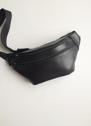 Минималистичная кожаная сумка на пояс (унисекс), бананка с 2мя отделениями.