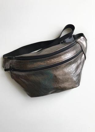 Новинка!сумка на пояс металик.женская трендовая сумка,бананка из натуральной кожи
