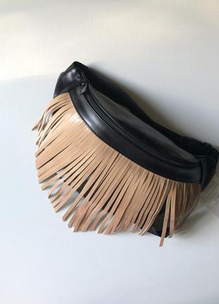 6038fb1e9322 Тренд!кожаная сумка на пояс, бананка с кофейной бахромой ,компактная  поясная сумка