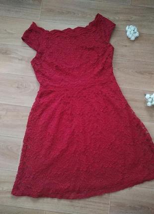 Нарядное кружевное платье бордо марсала 14 размер