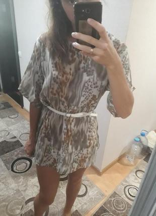 Летнее платье туника животный принт