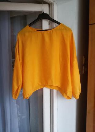 Стильная обьемная шелковая блуза zara 100% шелк