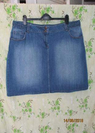 Чёрная пятница джинсовая юбка миди скрасивым поясом/стрейчевая/большой размер uk 20/54-56
