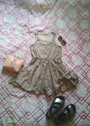 Платье бежевое гипюровое new look короткое