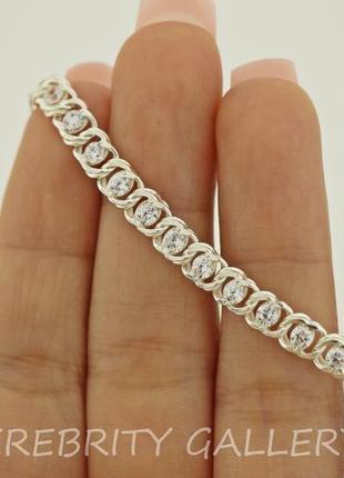 10% скидка - подписчикам! красивый браслет серебряный размер 17-21. e 7003 w 17-21