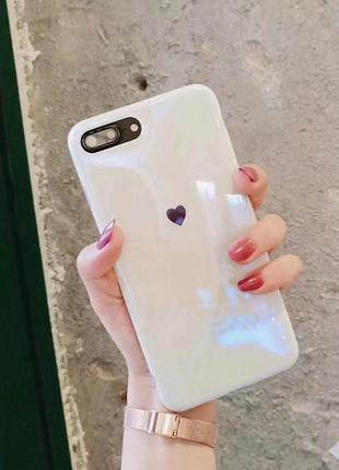 Чехол силиконовый сердце переливающийся iphone 6/6s/7/8/6+/6 plus/7 plus/8+/x/xs/ xs max