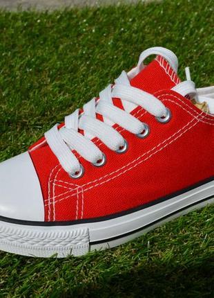 Детские подростковые стильные недорогие кеды красные 30 - 35