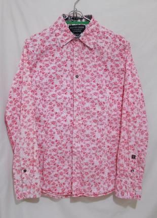 Новая яркая рубашка с принтом slim fit бренд *silver creek* 48-50р