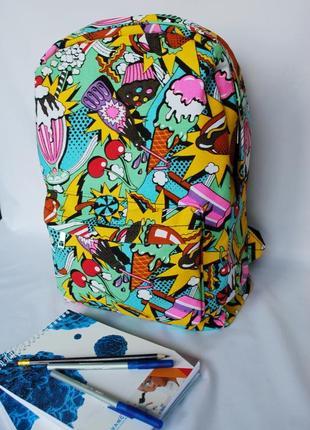 Рюкзак яркий прочный молодежный ранец школьный туристический поп-арт