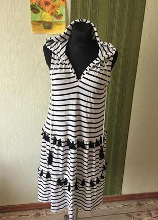 Фирменное платье сарафан в полоску  с капюшоном размер от 10-16