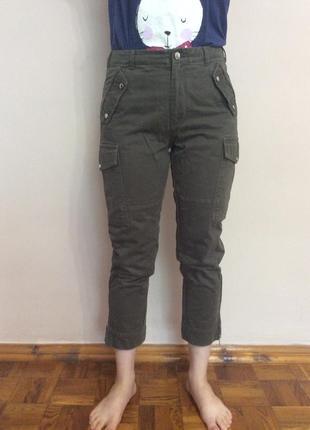 Укорочённые штаны цвета хаки