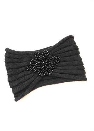 Новая чёрная тёплая модная шапка повязка на голову с бусинами осенняя зимняя, хит сезона