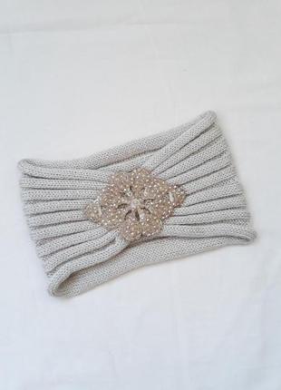 Новая бежевая тёплая модная шапка повязка на голову с бусинами осенняя зимняя, хит сезона