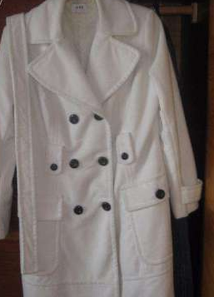 Белое пальто oodji
