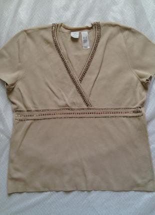Вязанная футболка на запах р хл с декорацией