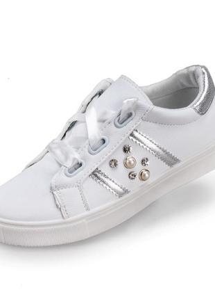 Стильные слипоны кеды белые с серебристыми вставками и жемчугом широкий шнурок