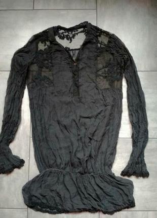 Прозрачная блуза с гипюром