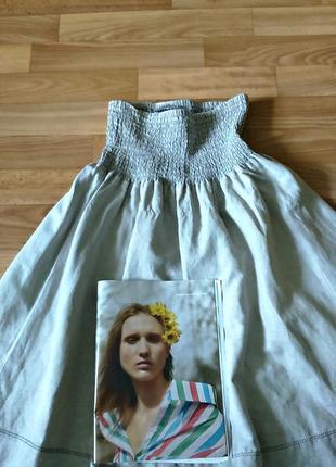 Распродажа♥ трендовая миди юбка из льна, натурального оттенка, бохо, этно от reserved