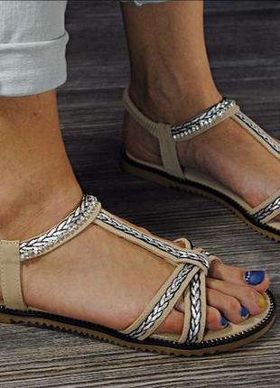 Бежевые босоножки сандалии переплет кант цепочка стразы. распродажа