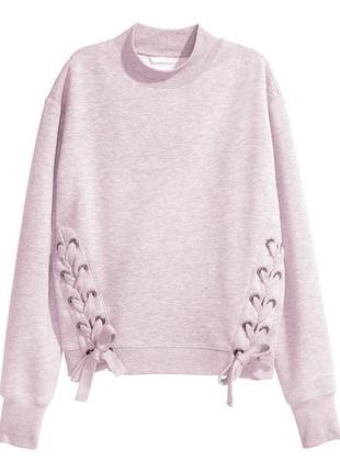 Теплый пудровый свитшот с начесом и крупной шнуровкой р.42 h&m кофта пуловер  l-xl