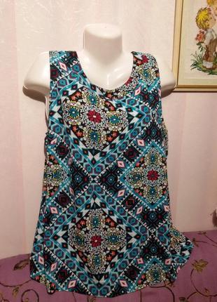 Яркая вискозная блуза (пог 56 - 58)