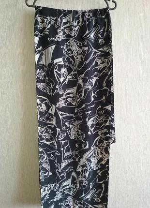 Красивый шарф 💯 фактурный шёлк, абстрактный рисунок, шов роуль