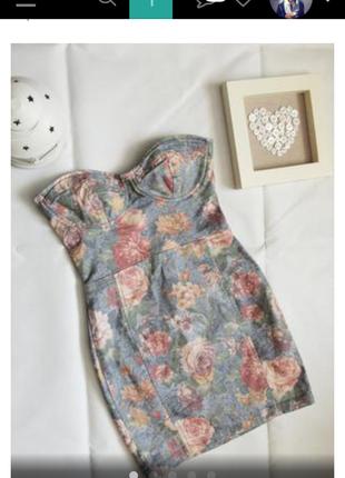 Платье с чашечками /в цветочный принт